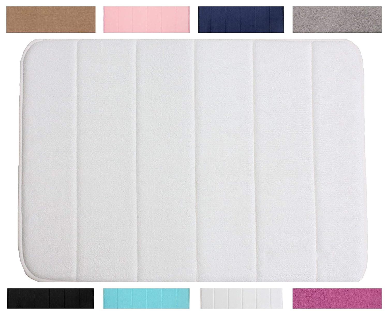 Machine Washable Memory Foam Bath Mat Set 1//2 Piece Non Slip Pedestal and Bath Mat Set Toilet Bathroom Rug Black, Bath Mat Only