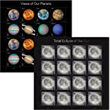1 Sheet of Views of Our Planets + 1 Sheet of Total Eclipse of the Sun USPS Forever First Class Postage Stamps Self-Adhesive (1 Combo set)