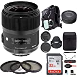 Sigma 35mm f/1.4 DG HSM Lens for Canon DSLR Cameras w/Sigma USB Dock & 32GB SD Card Deluxe Travel Bundle