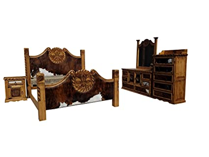 Hi End Cowhide Rustic Bedroom Set With Fleur De Lis And Rope Accents 6  Piece Complete