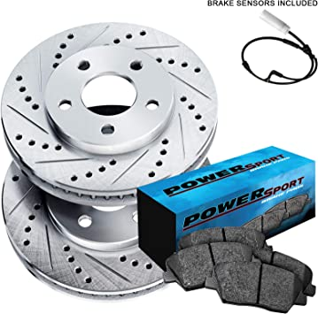 Front Black Hart Drilled Slotted Brake Rotors and Ceramic Pads Cayenne,Touareg