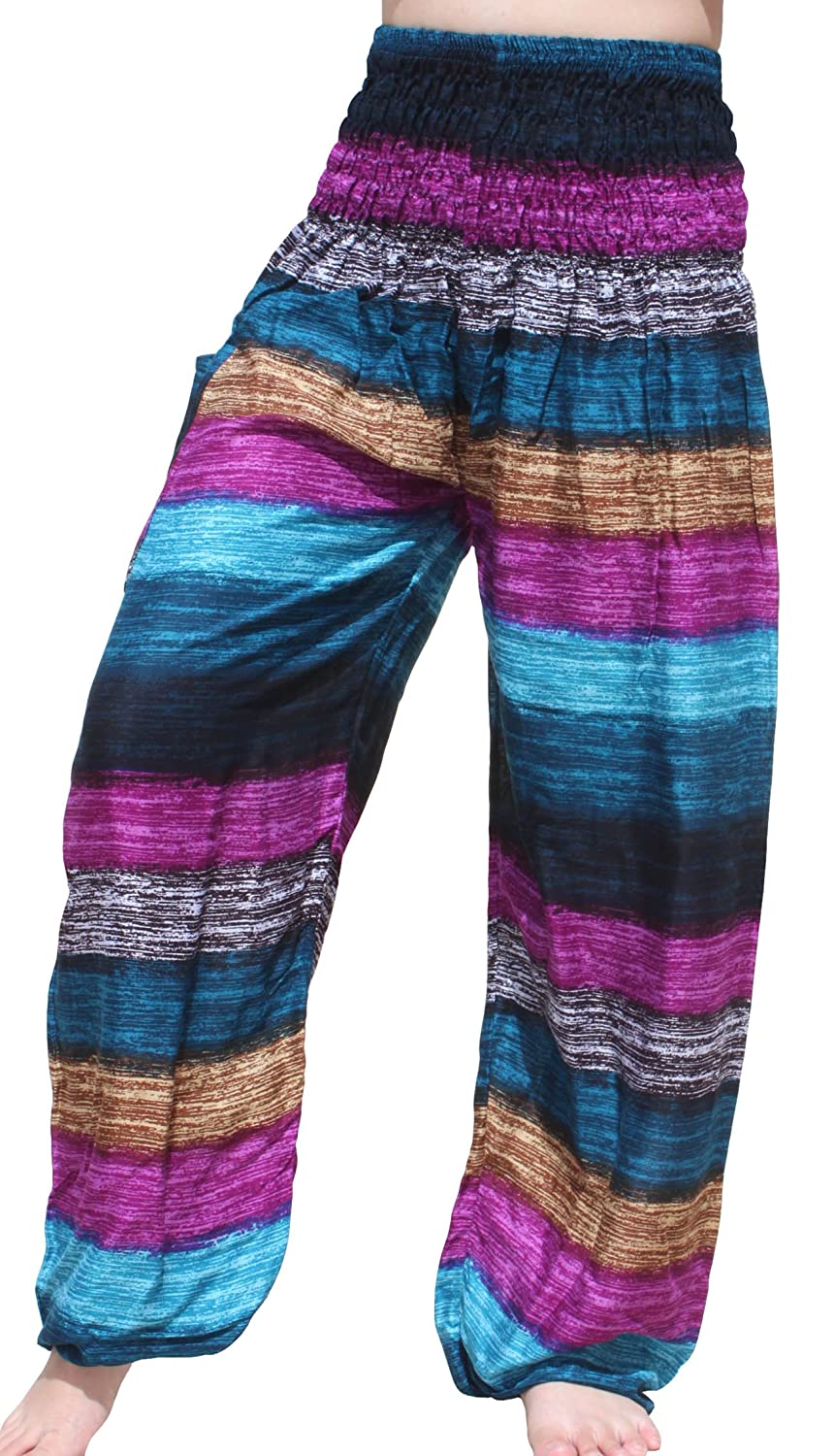 Cheap Full Funk Smock Waist Viscose Aladdin Pants Earth Strata Mixed Colours All Sizes for sale