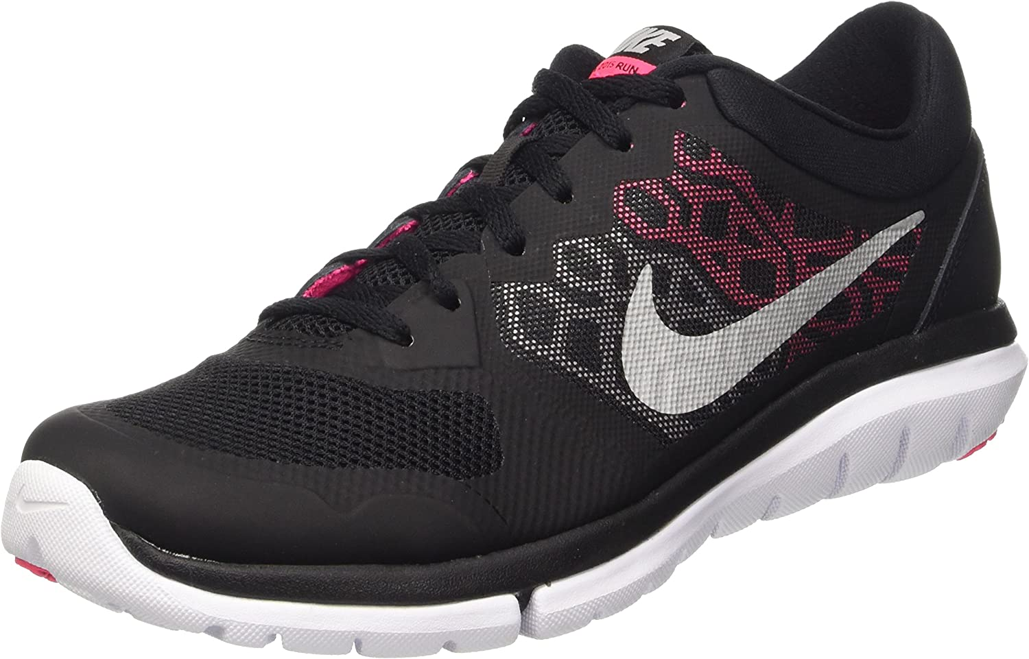 Nike Women s Flex Run 2015 Running Shoe Black Pink Metallic Silver Size 9.5 M US