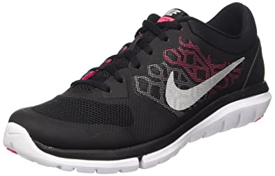 half off 7e928 71ba8 Nike Women s Flex Run 2015 Running Shoe Black Pink Metallic Silver Size 7 M