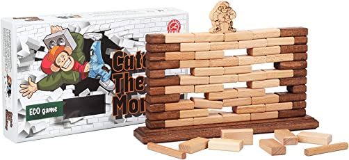Catch The Monkey Super Fun and Educational Family Board Game For Kids and Adults – Outdoor Wooden Block Stacking Game – Takes Balance, Speed, Patience – Develops Motor Skills and Eye-Hand Coordination