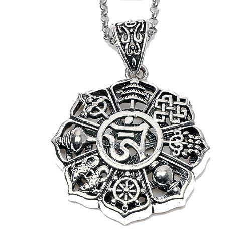 Paw House Om Lotus Mandala Medallion Pendant Necklace Tibetan Buddhist 8 Symbol Meditation Yoga Inspired