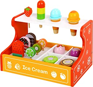 Toy Chest Nyc Wooden Ice Cream Set, Frozen Treats, Pretend Play Food, Cones, Ice Cream Toppings & Frozen Fruit Bars, 15 Pieces