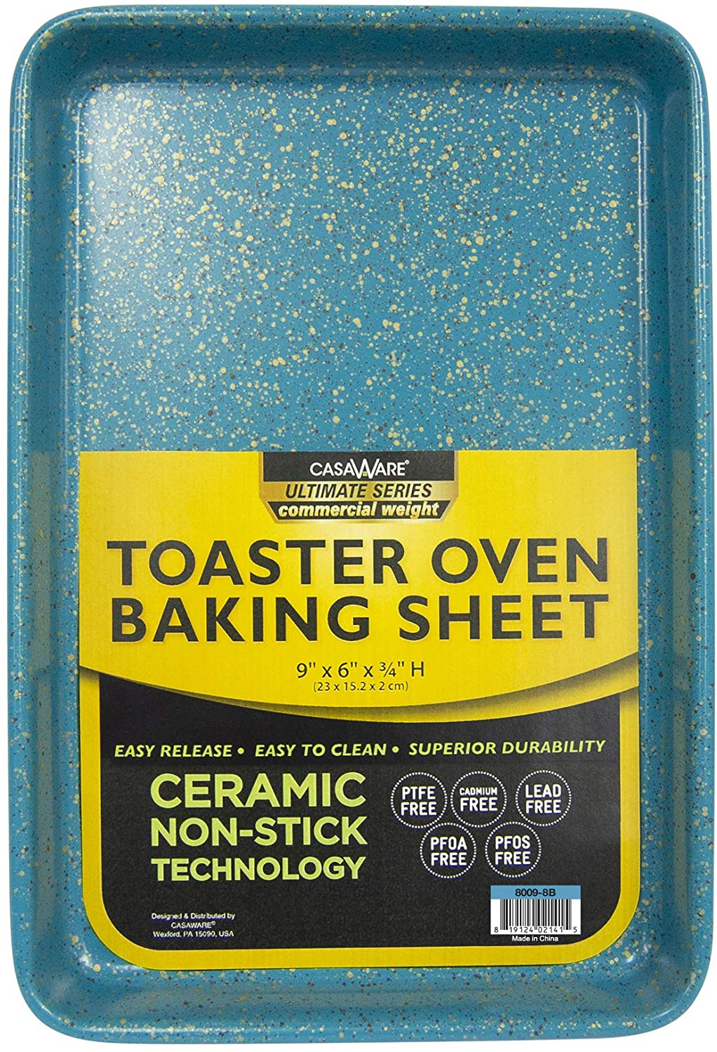 casaWare 9 x 6 x 0.75-Inch Toaster Oven Ultimate Series Commercial Weight Ceramic Non-Stick Coating Baking Pan (Blue Granite)