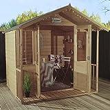 7x5 Wooden Summerhouse ♦ Nutmeg Summer House ♦ Shiplap T&G ♦ Apex Roof & Felt ♦