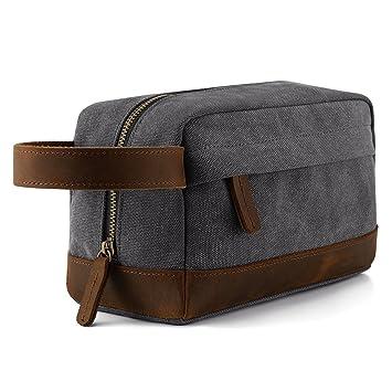 c37949766a Amazon.com   Plambag Canvas Leather Toiletry Bag for Men