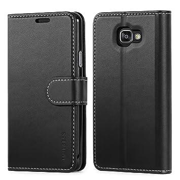 Mulbess Business Style Ledertasche im Ständer Book Case / Kartenfach für Samsung Galaxy A3 2016 Tasche Hülle Leder Etui,Schwa