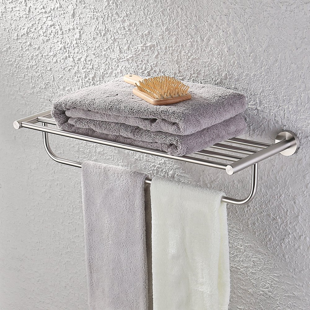 kes towel rack with towel bar 23 inch brushed bathroom shelf wall mount sus 799599268525 ebay. Black Bedroom Furniture Sets. Home Design Ideas