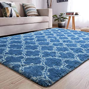YJ.GWL Soft Indoor Large Modern Area Rugs Shaggy Patterned Fluffy Carpets Suitable for Living Room and Bedroom Nursery Rugs Home Decor Rugs for Christmas and Thanksgiving 5'x8'Indigo Trellis