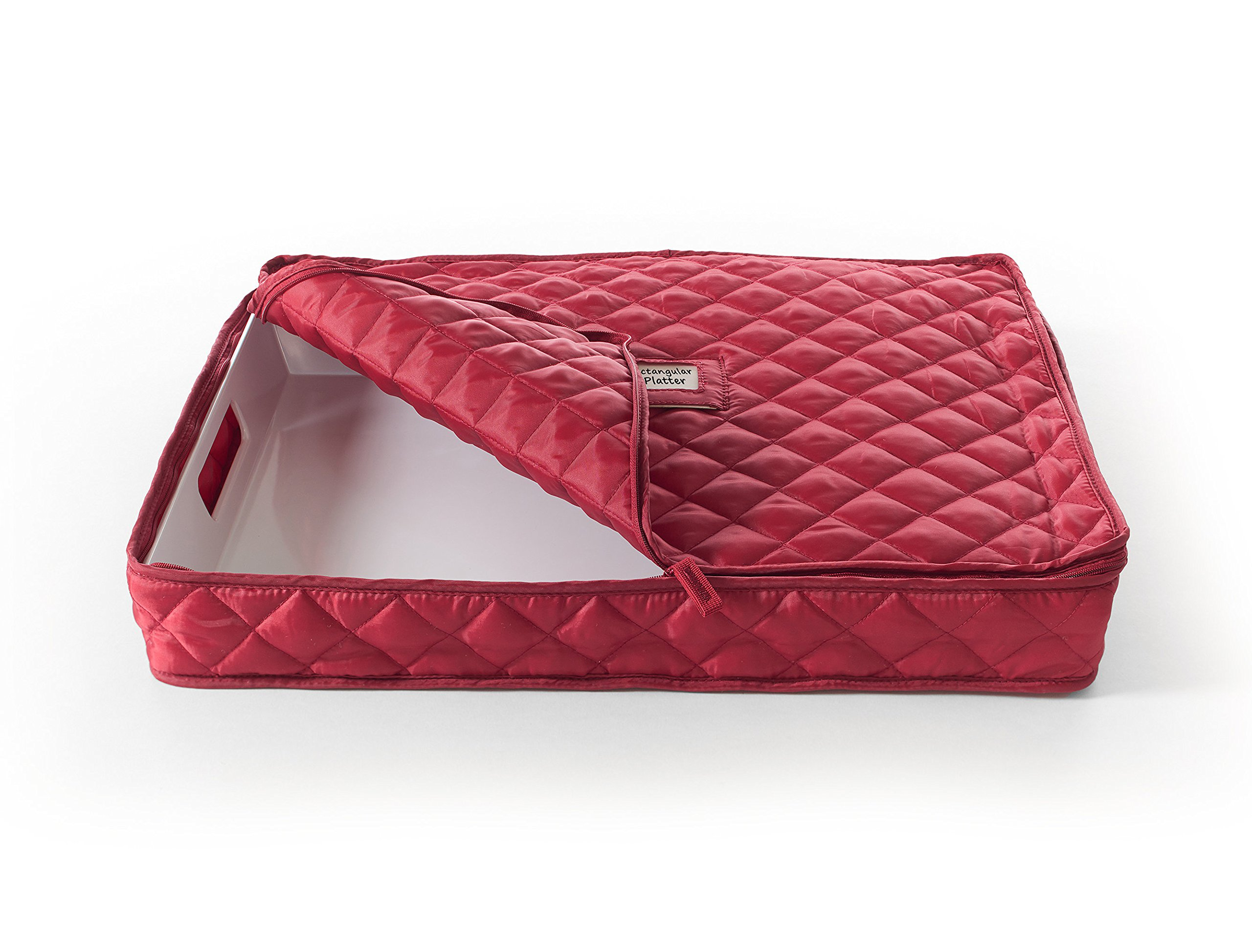 CoverMates – Rectangular Platter Storage 19L x 16W x 3H – Diamond Collection – 2 YR Warranty – Year Around Protection - Red