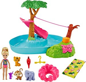 Barbie and Chelsea The Lost Birthday Splashtastic Pool Surprise Playset with Chelsea Doll (6-in), 3 Baby Animals, Slide, Zipline & Accessories, Gift for 3 to 7 Year Olds