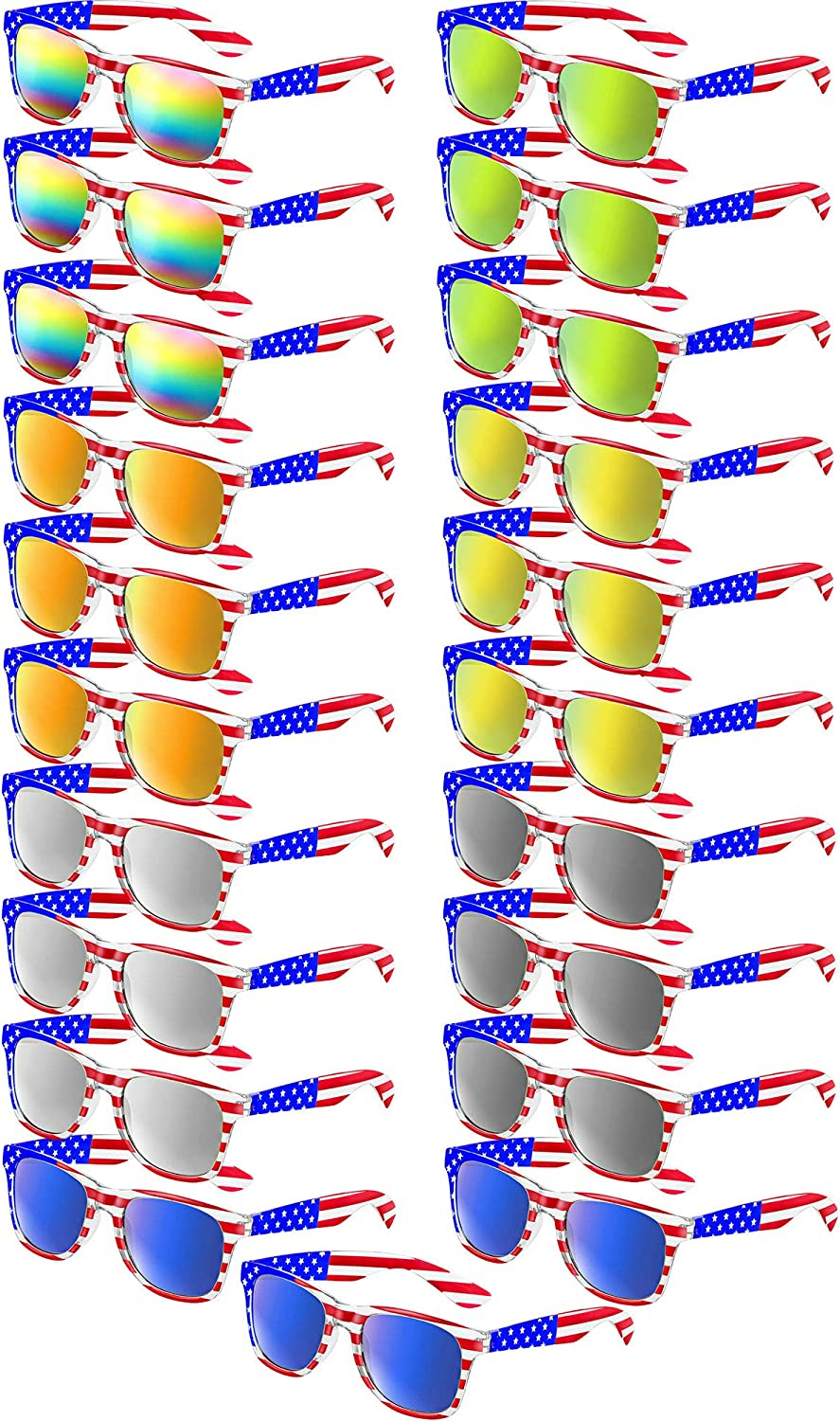 United We Stand Patriotic USA US Flag Sunglasses Navy Blue Mens Retro Glasses