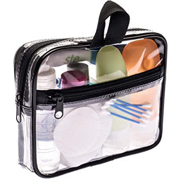 b7df68e98333 TSA Approved Toiletry Bag 3-1-1 Clear Travel Cosmetic Bag with Handle -