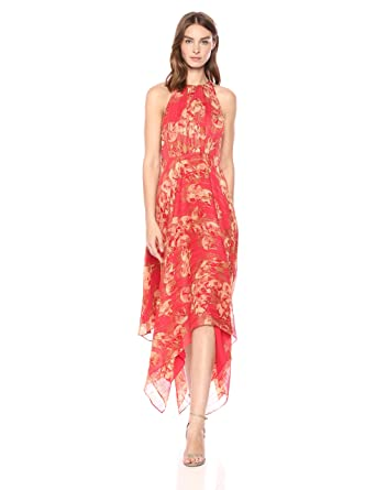 c64e3189a04 Amazon.com  Halston Heritage Women s Sleeveless High Neck Printed Gown with  Strap Detail  Clothing