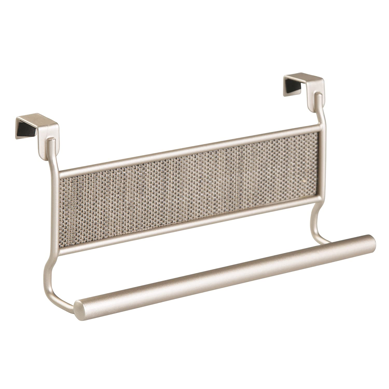 InterDesign Twillo Towel Rail, Over the Cabinet Tea Towel Holder, Ideal for Kitchens and Bathrooms, Made of Durable Metal, Silver 71112