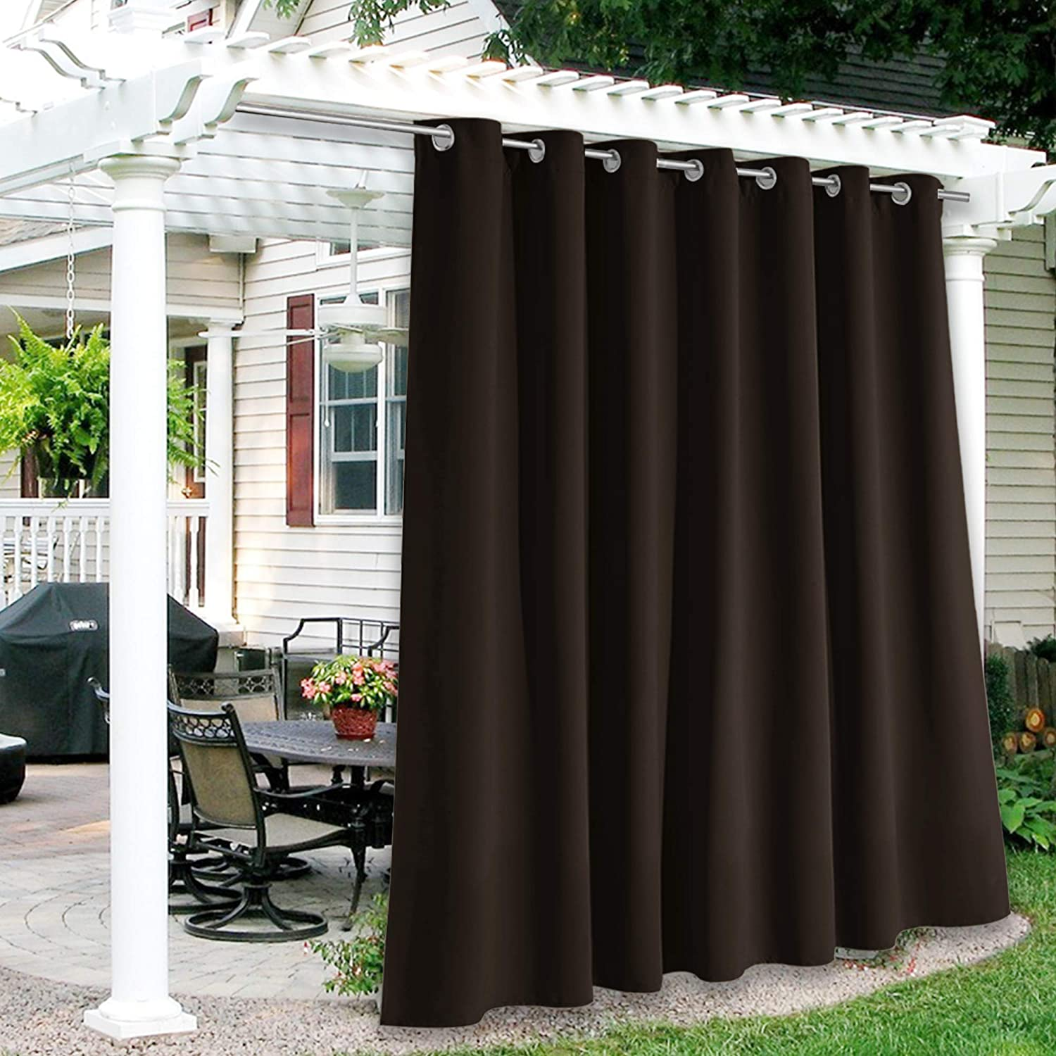 RYB HOME Porch Curtains Outdoor Farmhouse Drapes, Blackout Free Standing Outdoor Privacy Curtain for Indoor Door Blind / Living Room / Garden Lawn, Wide 100 x Long 84, 1 Panel, Brown