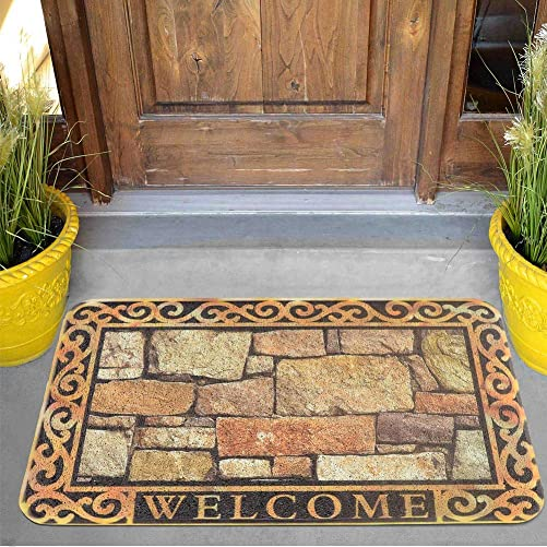 Carvapet Outdoor Indoor Entry Way Welcome Rug Door Mat 18 x 30 Inches with Non Slip Backing