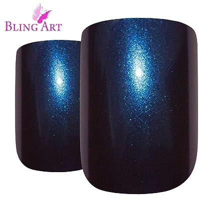 Uñas Postizas Bling Art 24 Azul Púrpura Chameleon Squoval Medio Falsas puntas acrílicas con pegamento