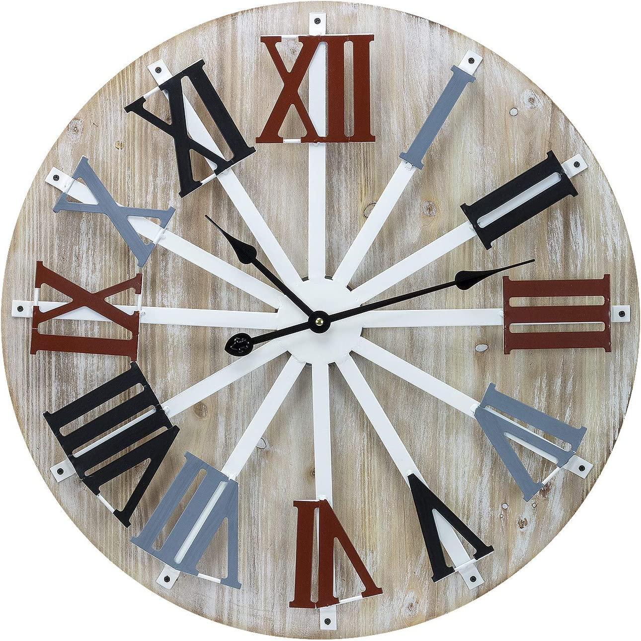 Sorbus Large Decorative Wall Clock, 24 Round Oversized Centurian Roman Numeral Farmhouse Style Modern Home Decor Ideal for Living Room, Analog Wooden Metal Colorful Clock