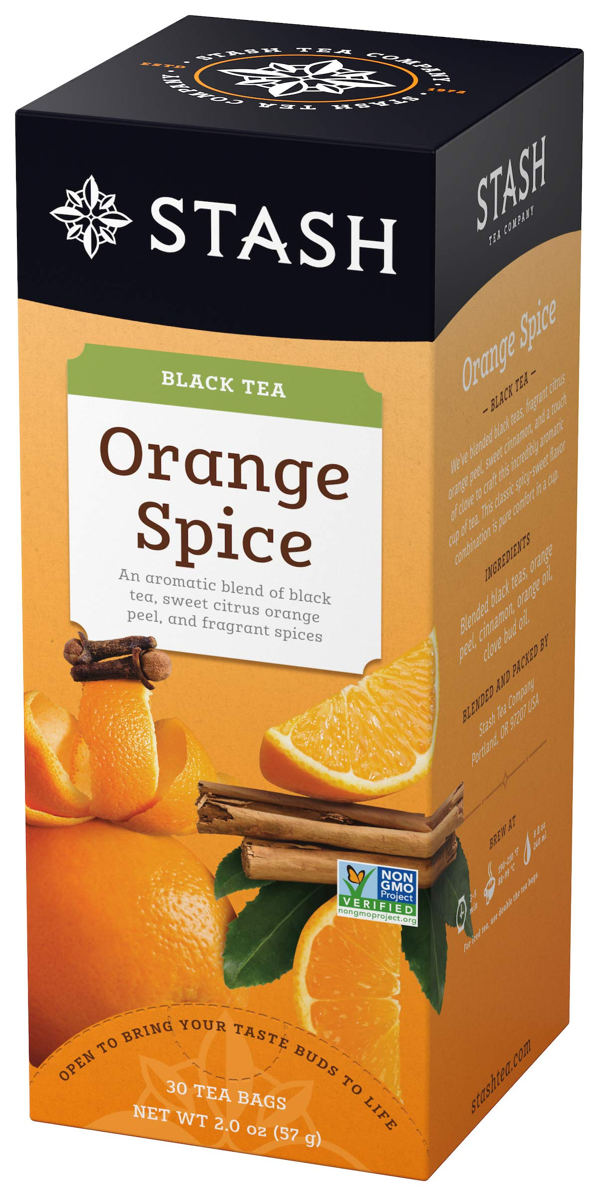 Stash Tea Orange Spice Black Tea 30 Count Tea Bags in Foil (Pack of 6) Individual Black Tea Bags for Use in Teapots Mugs or Cups, Brew Hot Tea or Iced Tea