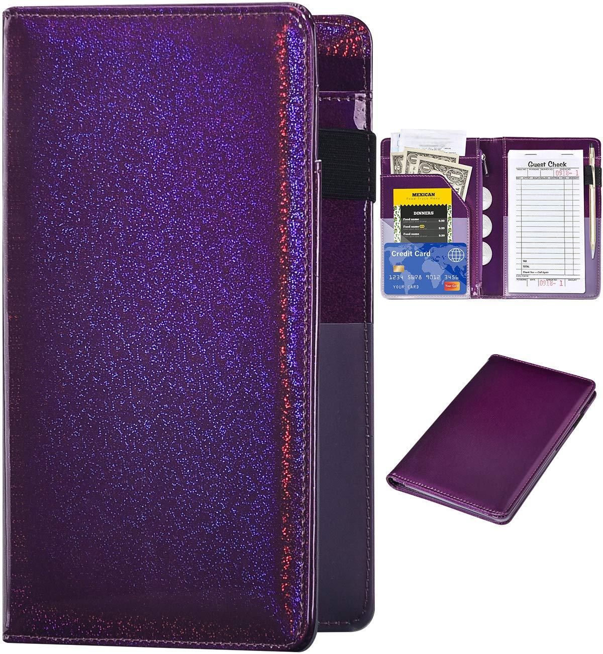 Server Books for Waitress Glitter Leather Waiter Book Server Wallet with Zipper Pocket Cute Waitress Book/&Waitstaff Organizer with Money Pocket Fit Server Apron