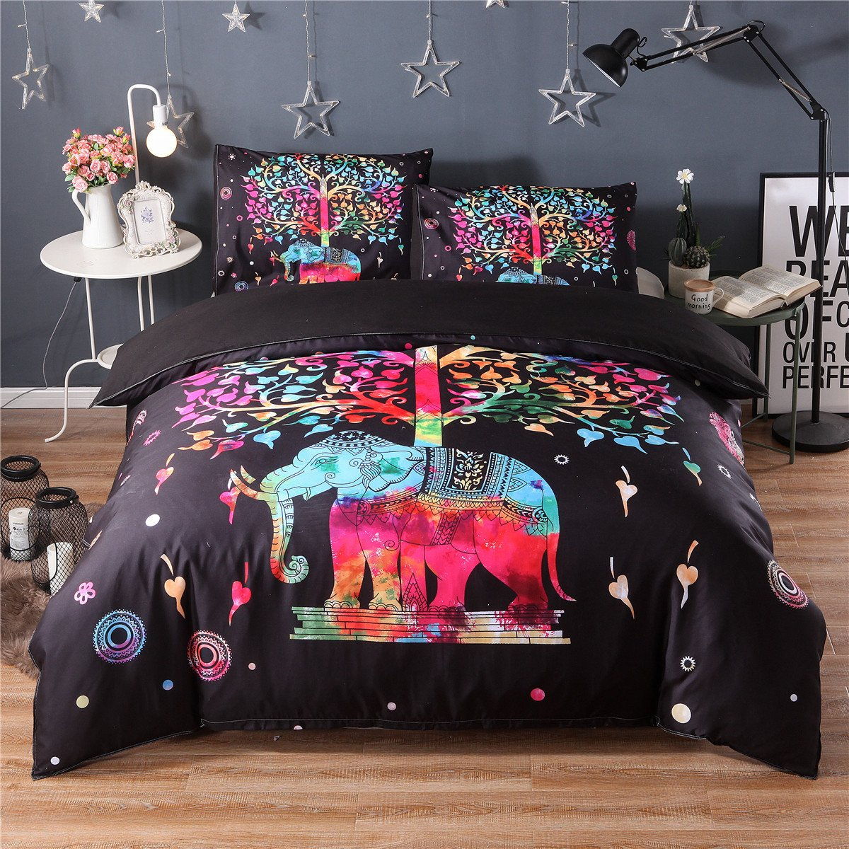 Hotel Luxury 3pc Duvet Cover Set-1500 Thread Count Egyptian Quality Ultra Silky Soft Premium Bedding Collection-Queen Size 3D Red Tree Elephant Comforter Insert Bedding Set