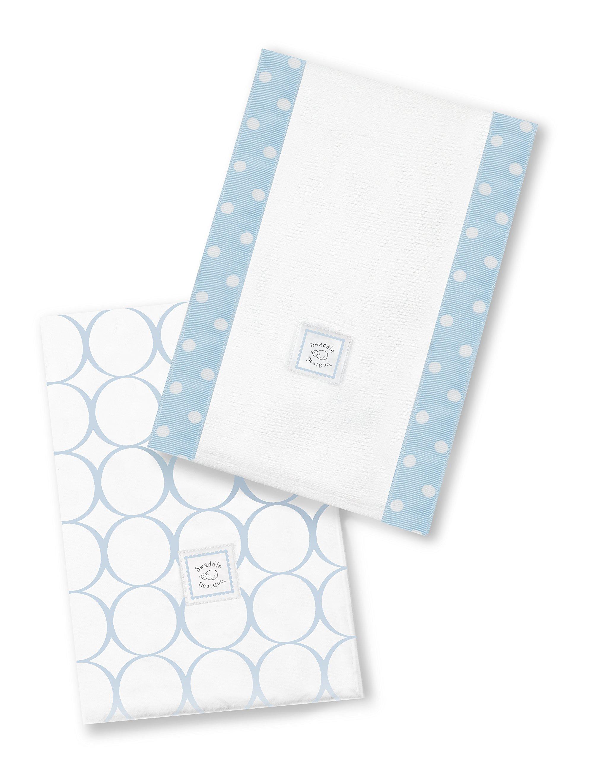 SwaddleDesigns Baby Burpies, Set of 2 Cotton Burp Cloths, Pastel Blue Mod Circles
