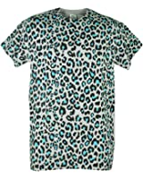 Cheetah Print Blue All Over Animal Pattern Grey Graphic Adult Tshirt Tee