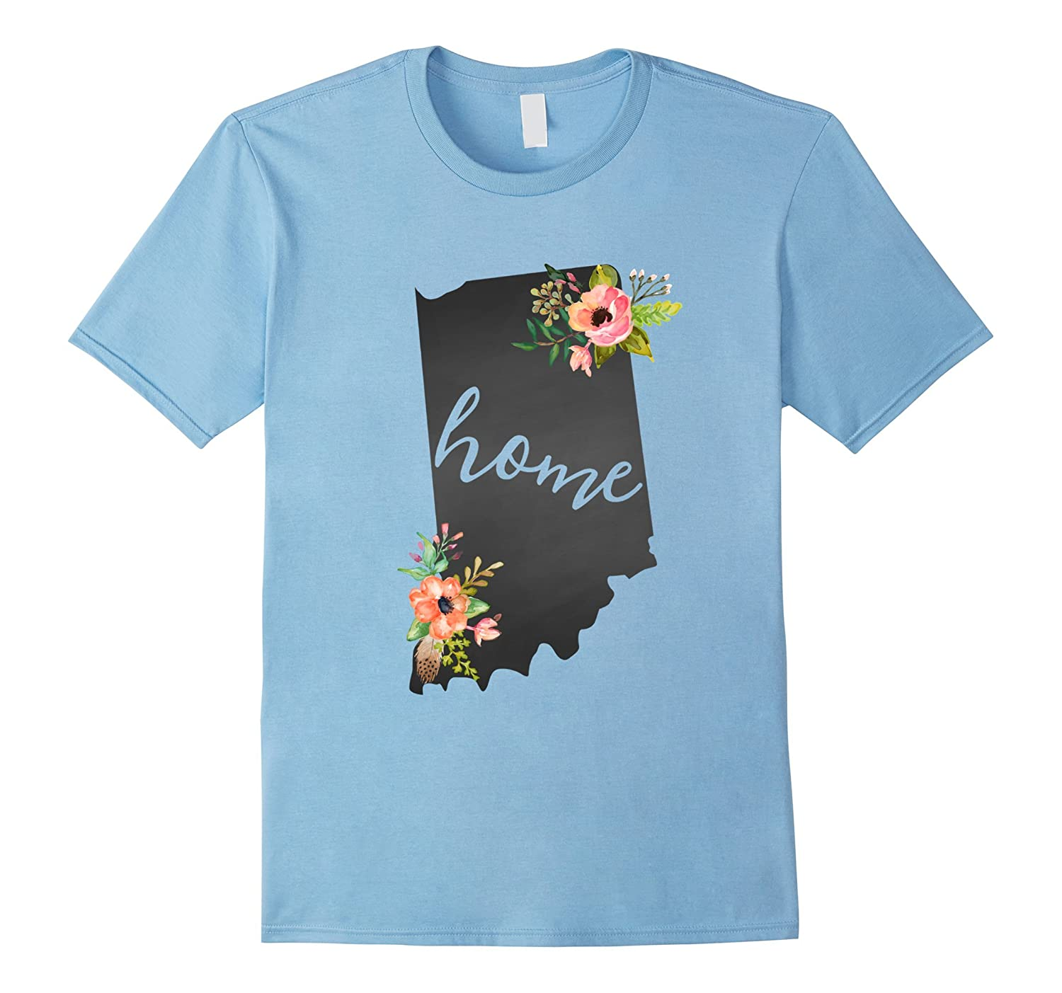 Indiana Home Chalkboard Watercolor Flowers State T Shirt RT – Rateeshirt