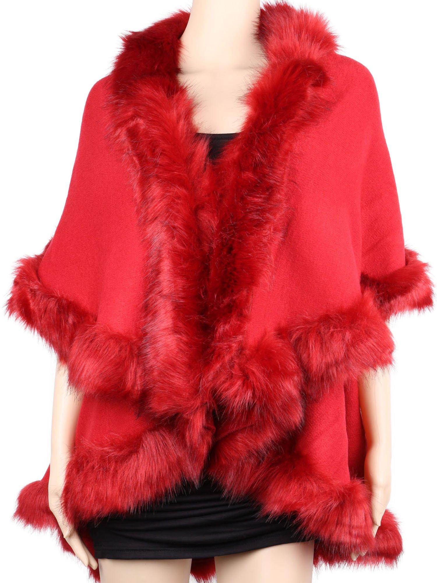 Womens Faux Fur Cape Coats Dress Plus Size (Wine Red)