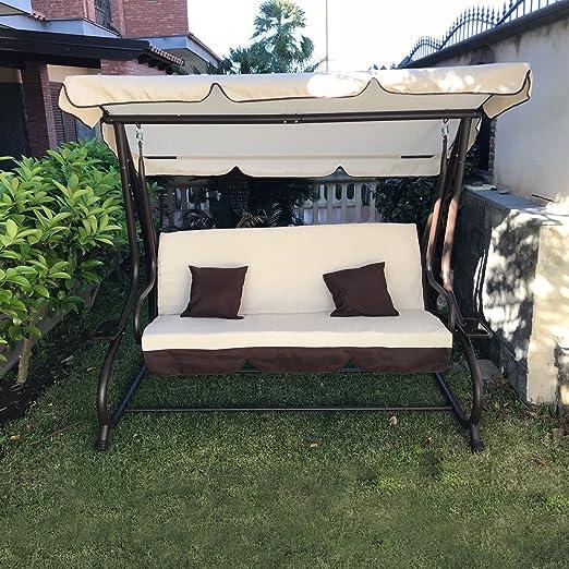 Balancín de jardín de 3 plazas con techo parasol y sofá cama. Columpio inclinable: Amazon.es: Jardín