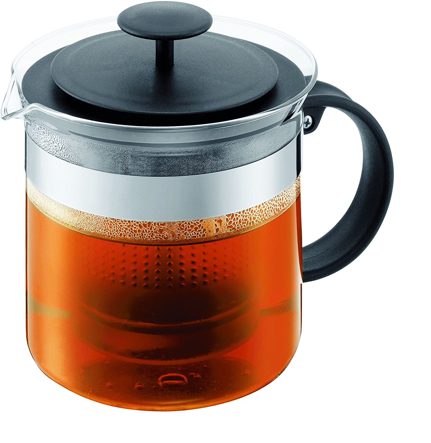 Bodum Bistro Nouveau Tea Press, Borosilicate Glass, Plastic Infuser - 1.5 L, Black 1880-01