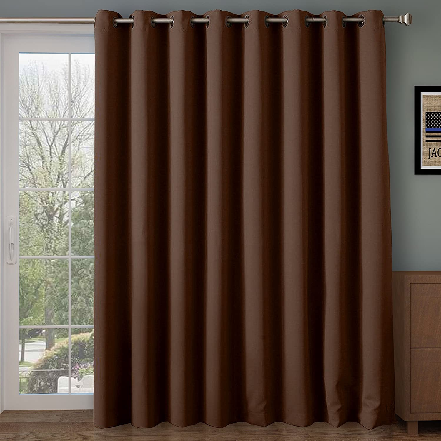 Rose Home Fashion RHF Function Curtain-Wide Thermal Blackout Patio Door Curtain Panel, Sliding Door Insulated Curtains,Extra Wide Curtains,Vertical Blinds,Grommet Curtains(Chocolate-100 by 96 Inches)