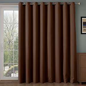 Rose Home Fashion Thermal Insulated Blackout Patio door Curtain Panel, Sliding door curtains,vertical blinds, Privacy Blinds for Patio,Extra Wide Drapes,Wide curtains: 100W by 84L Inches-Chocolate