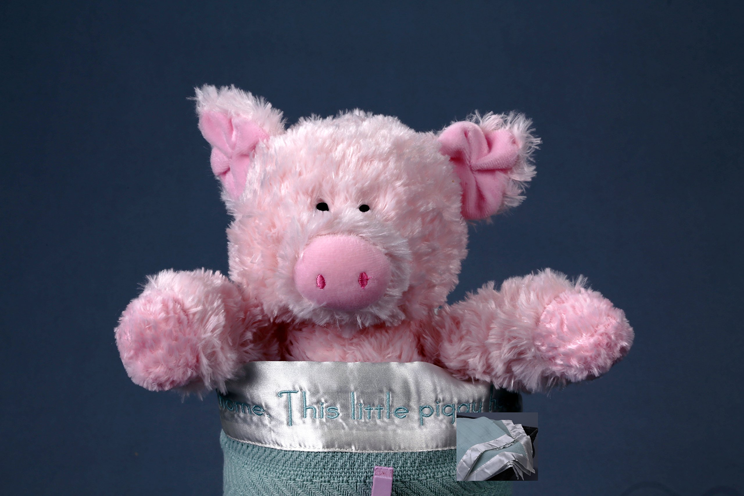 ''This Little Piggy'' Nursery-Rhyme-Embroidered Baby Blanket - Size 30''x30''