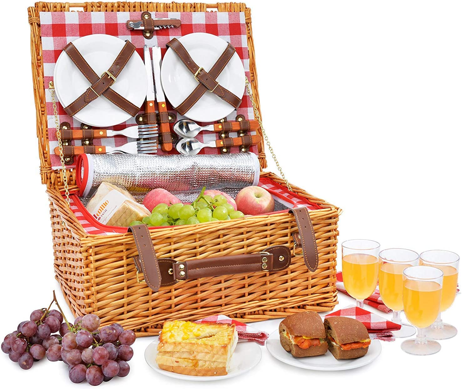 Amazon.com : Picnic Basket Set for 4 Person | Insulated Red Picnic ...