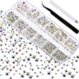 TecUnite 2000 Pieces Flat Back Gems Round Crystal Rhinestones 6 Sizes (1.5-6 mm) with Pick Up Tweezer and Rhinestones Picking Pen for Crafts Nail Face Art Clothes Shoes Bags DIY (Crystal AB)