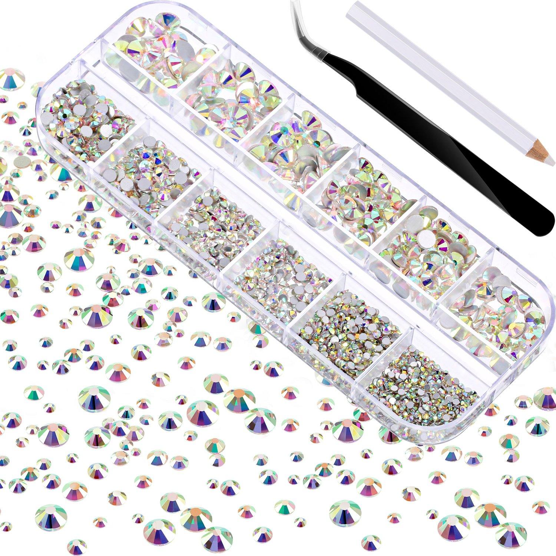2000 Pezzi Gemme Piatte Indietro Rotondo Strass di Cristallo 6 Formati (1.5 - 6 mm) con Raccogliere Pinzetta e Penna di Raccolta di Strass per Mestieri Unghie Abbigliamento Artistico Scarpe Borse Fai Da Te (Cristallo AB) TecUnite