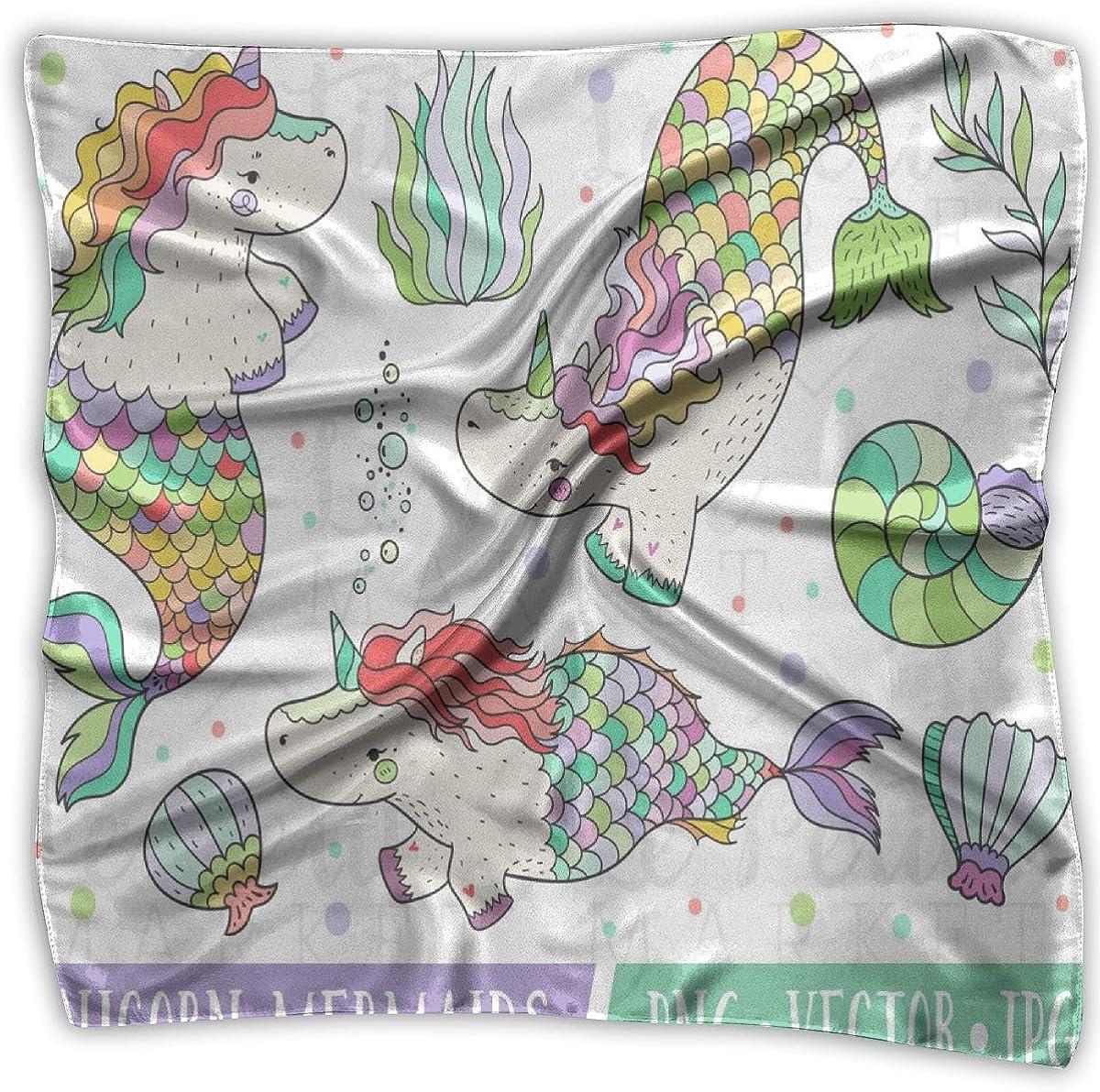 Girls Silk Scarf Rainbow-stripes Printed Square Scarf Sunscreen Shawls 39 X 39