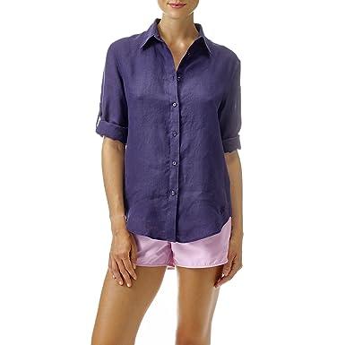 bf2c9bd843a2b VILEBREQUIN - Camisa de Lino - Mujer - L - Azul Marino  Amazon.es  Ropa y  accesorios