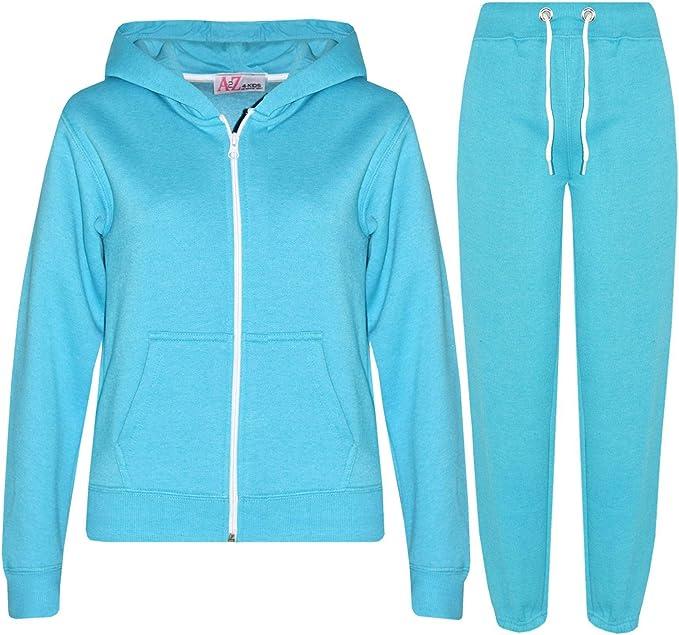 Womens Ladies Plain Fleece Hooded Hoodie Jogsuit Bottom Jogging Pant Tracksuit