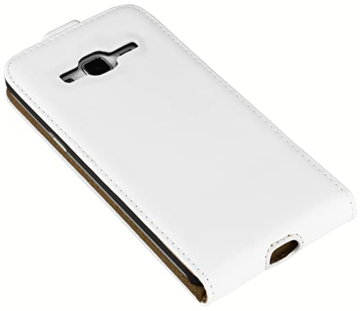 57f2386e817 Mumbi Flip Case Samsung Galaxy J3 (2016), Color Blanco: Amazon.es:  Electrónica