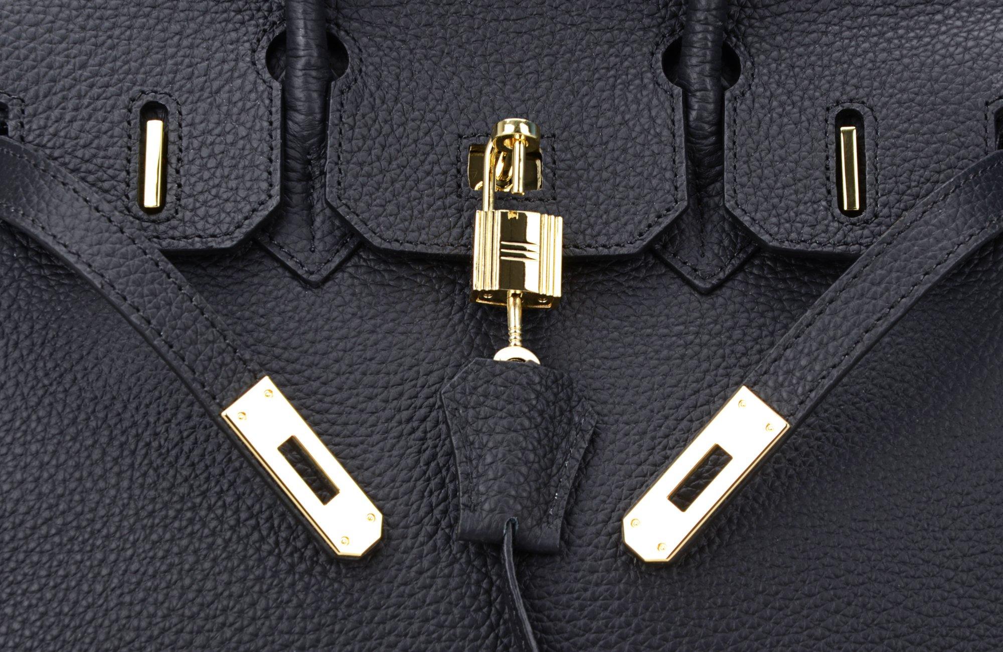 Cherish Kiss Women's Classic Genuine Leather Tote Padlock Handbags H35 (35CM, Black) by Cherish Kiss (Image #7)