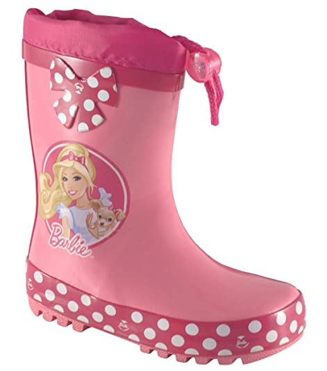 f4e5910127c1 Barbie Girls Wellington Boots Drawstring 100% High Quality Rubber Character  Rain Boots Junior 5-Youth 2 UK Sizes Age 18 Month to 8 Years for Toddler ...