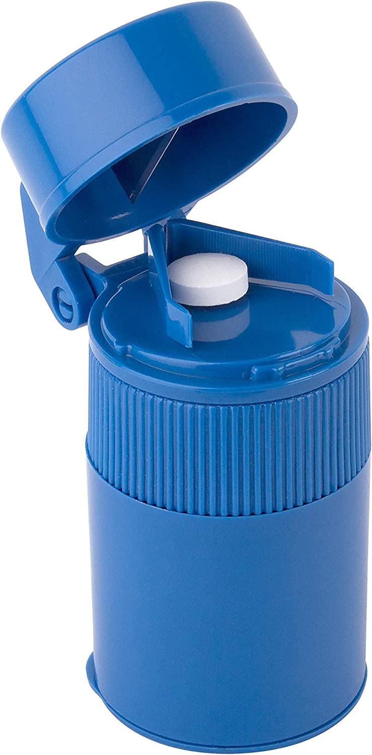 Ezy Dose Pill Crusher and Grinder | Crushes Pills, Vitamins, Tablets | Stainless Steel Blade | Removable Drinking Cup | Blue: Health & Personal Care
