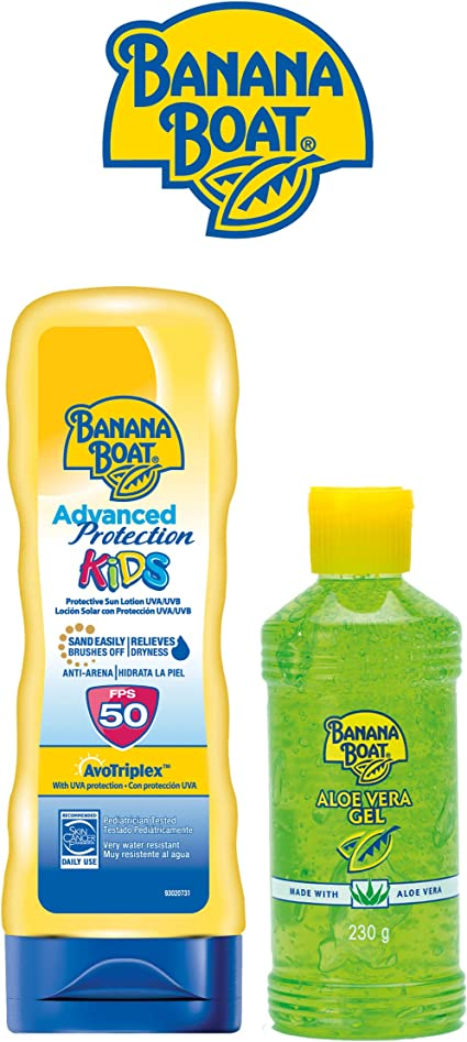 Banana Boat KIDS Pack Familiar - Kit de Crema Solar Niños SPF 50 + Gel After Sun Aloe Vera: Amazon.es: Belleza